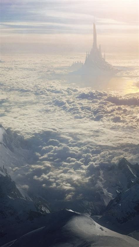 mountain clouds castle surreal iphone  wallpaper