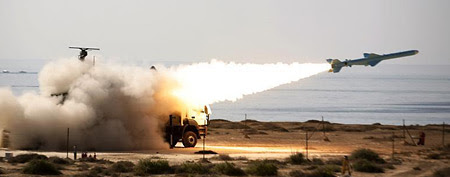 An Iranian long-range shore-to-sea missile called Qader is launched during a military drill on Sea of Oman's shore near the Strait of Hormuz in southern Iran, January 2, 2012. (Reuters)