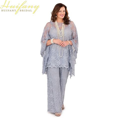 silver gray lace mother   bride pant suits long
