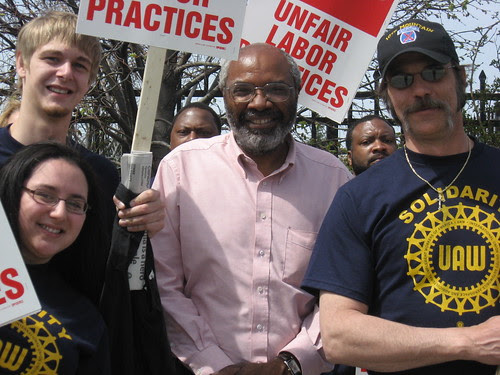 Abayomi Azikiwe, Pan-African News Wire editor, surrounded by striking workers and their supporters at the American Axle headquarters in Detroit on April 24, 2008. They have been on strike for nearly two months. (Photo: Alan Pollock). by Pan-African News Wire File Photos