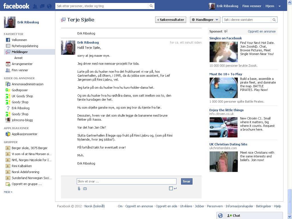 ny facebook melding til terje sjølie