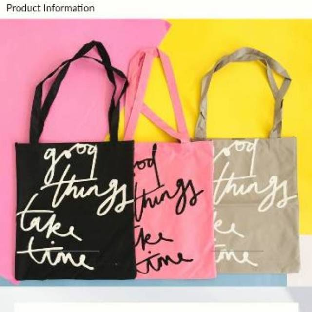 Promo 2 Tas 50.000 Tote Bag Good Things Hitam Ready Makassar Toko Tamz
