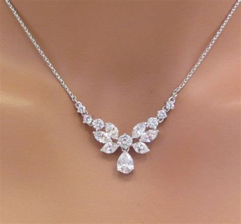 Simple bridal necklace Bridal Rhinestone necklace Dainty