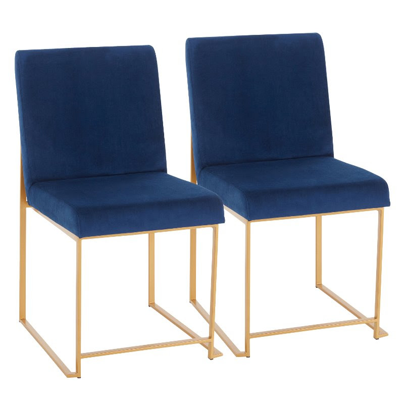Modern Blue And Gold Upholstered Dining Room Chair Set Of 2 Fuji Rc Willey Furniture Store