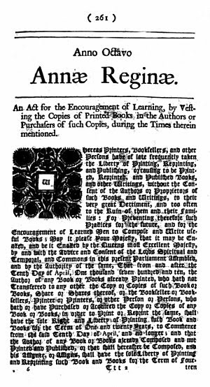 English: Statute of Anne, the first modern cop...