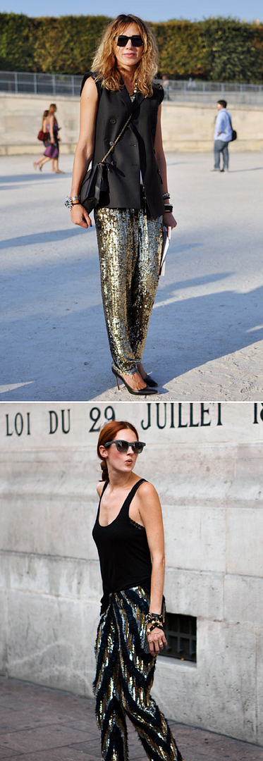 STREET STYLE FASHION WEEK SEQUIN PANTS GOLD MULTI COLOR SLEEVELESS BLAZER VEST CROSS BODY BAG PUMPS STATEMENT BRACELET TAYLOR TOMASI HILL SIMPLE BLACK TANK TOP SUNGLASSES LEATHER WRAP BRACELET STYLE FASHION BLOG.png