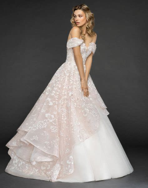 Off The Shoulder Floral Embroidered Ball Gown Wedding