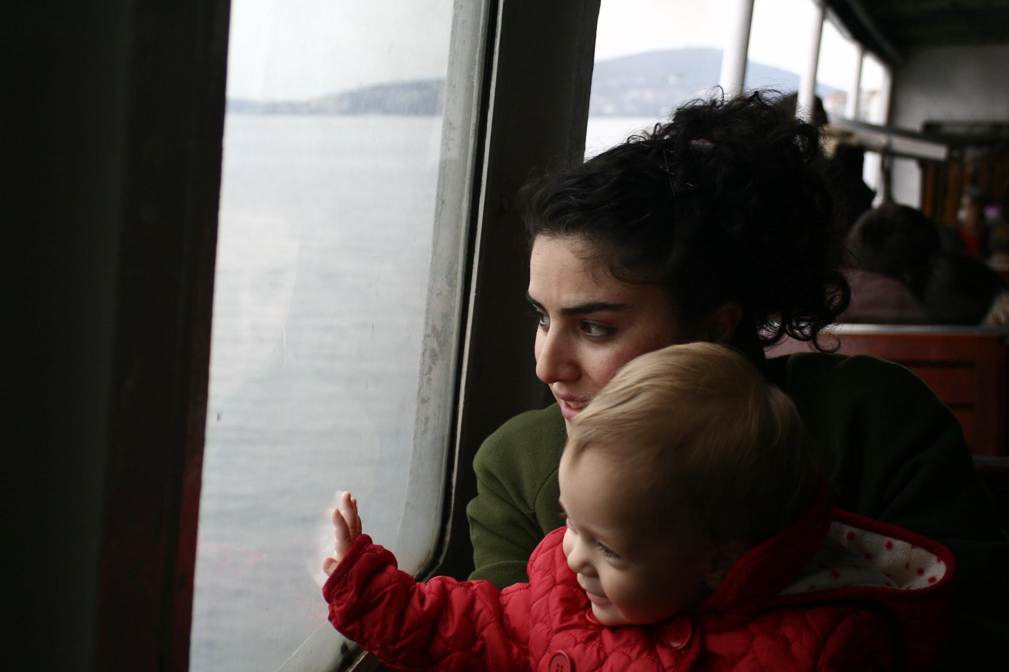 Başak and Neve on the vapur to Kabataş
