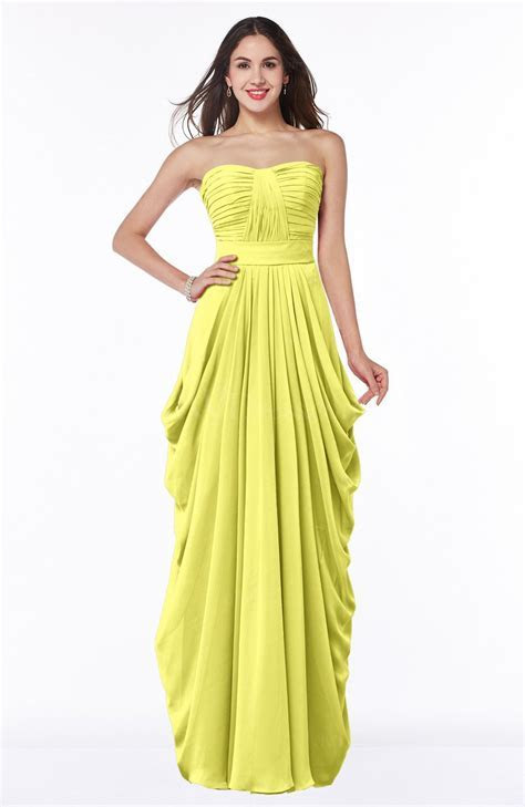 Pale Yellow Cinderella Half Backless Chiffon Floor Length
