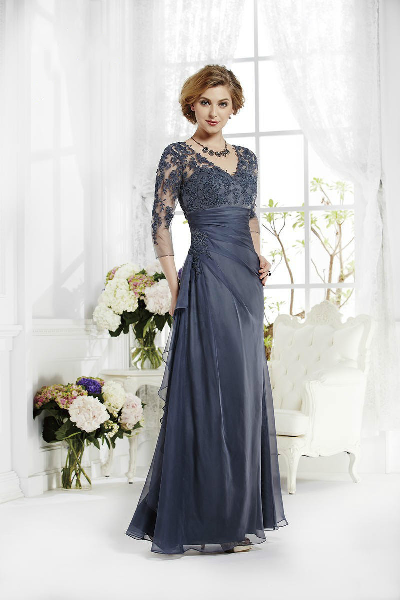 2015 vintage navy blue mother of the bride groom dresses 3