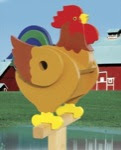 Rooster Birdhouse Woodworking Plan - fee plans from WoodworkersWorkshop® Online Store - rooster birdhouses,fun,novelty,garden,full sized patterns,woodworking plans,woodworkers projects,blueprints,drawings,blueprints,how-to-build,MeiselWoodHobby