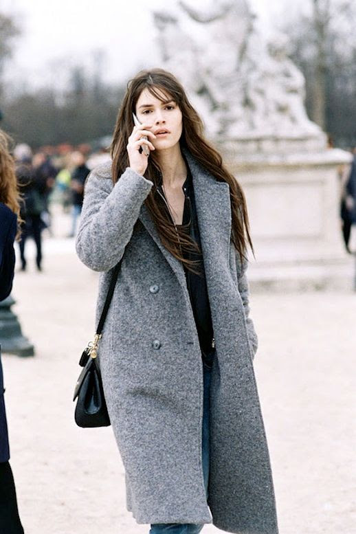 Le Fashion Blog Model Off Duty Style Paris Fashion Week Vanessa Moody Long Grey Coat Distressed Denim Via Vanessa Jackman