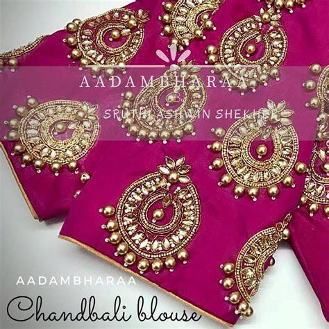 Beautiful pink color bridal designer blouse with chandbali