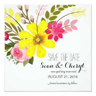 Folklore Flower Garden Save the Date Announcement Card