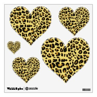 Leopard Print Hearts Wall Decals