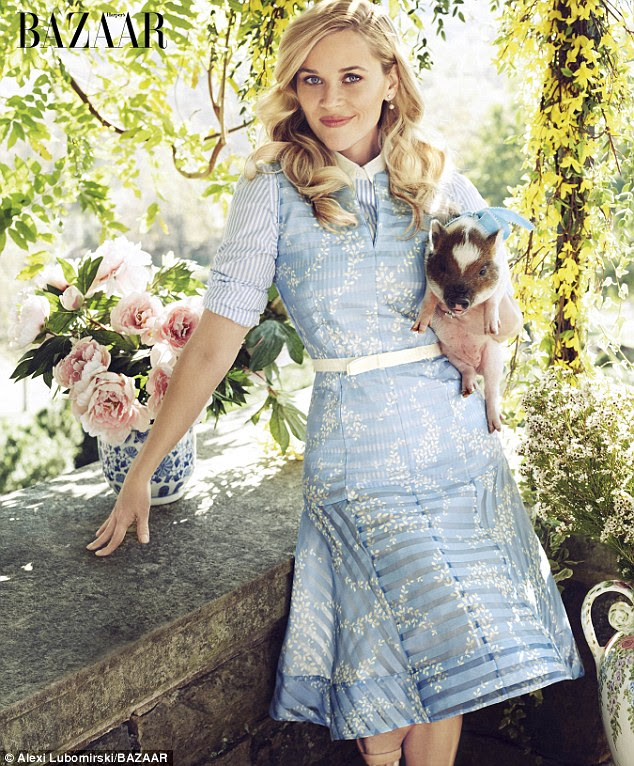Southern style: The39-year-old actress, producer, and budding lifestyle guru also donned a dress and button down from her line Draper James, which is named after her grandparents
