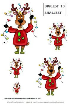 Christmas Free Maths Sheet Biggest to Smallest Reindeer