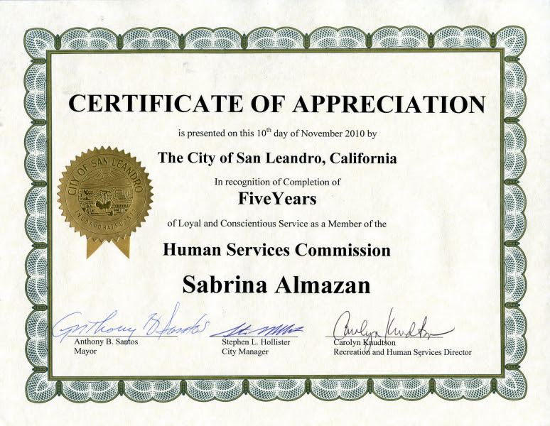 Certificate Of Recognition Template Years Of Service Asleafar