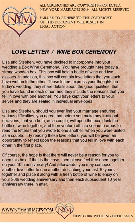 Sample Love Letter Wine Box Ceremony   Unique Wedding