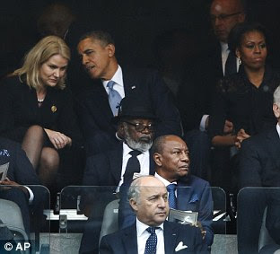President Barack Obama and Danish prime minister, Helle Thorning-Schmidt talked closely to each other throughout the ceremony