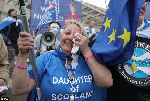 Independence supporters, such as Lorna Taylor pictured, have been agitating for months to re-run the 2014 Scottish poll