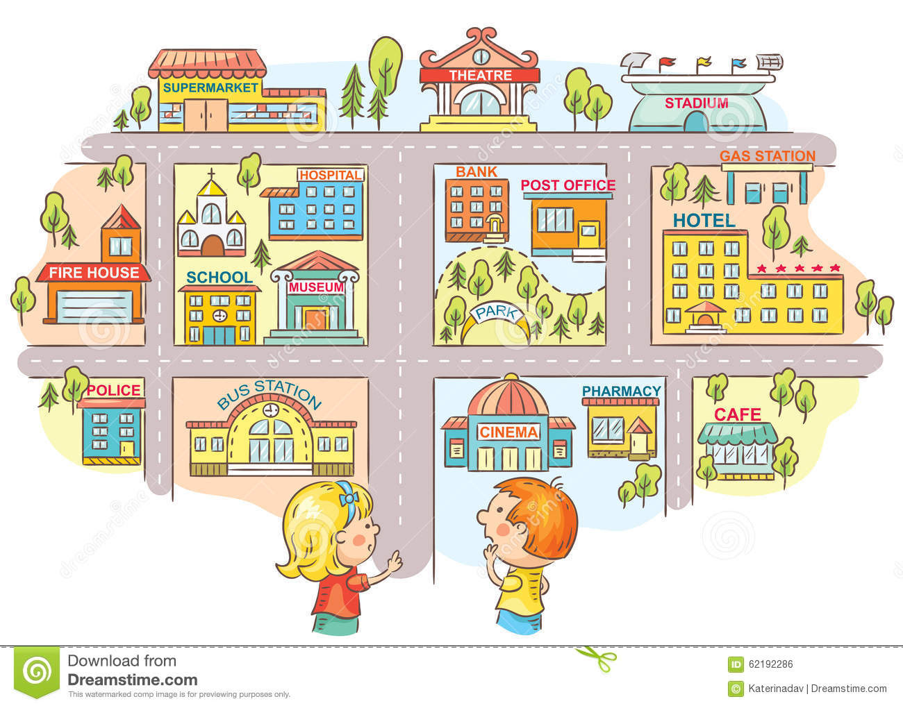 children asking telling way to different city buildings colorful cartoon 62192286