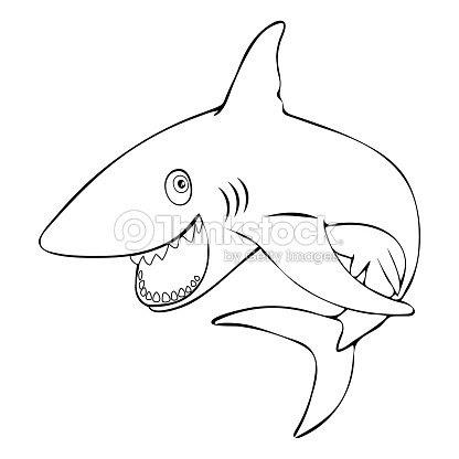Tiburones Pez Gracioso Sonriente Saltos Fuera Del Agua Dibujo De