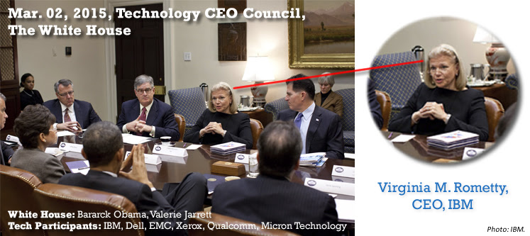 White House, Mar. 02, 2015, Technology CEO Meeting, Barack Obama, Valerie Jarret with IBM, EMC, Xerox, Micron Technology, Qualcomm, Dell