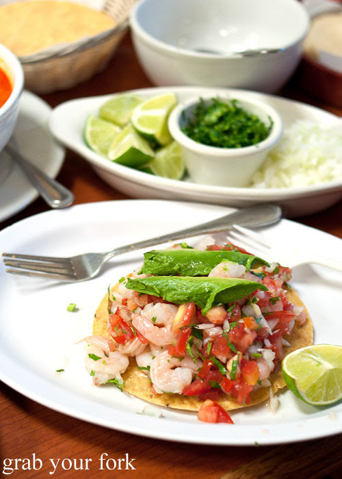tostada with prawn ceviche at tamales lilianas restaurante mexican in east los angeles
