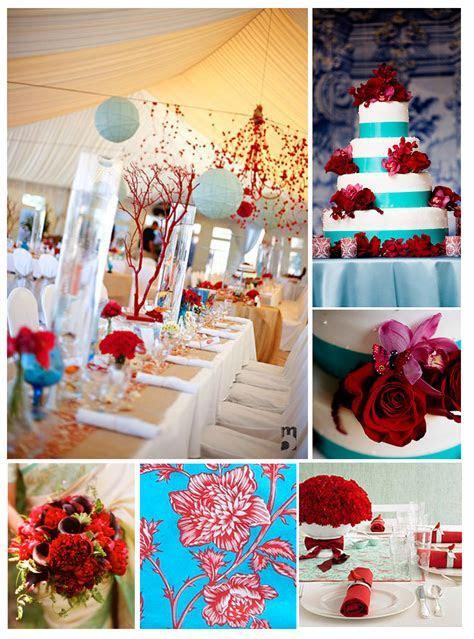 Wedding color trend: Aqua   Red   Nikki B's Paper Boutique