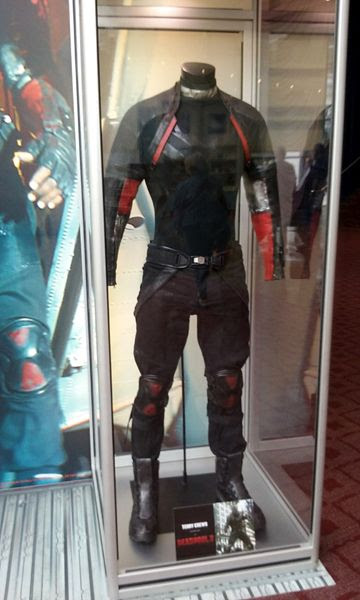 The 'Bedlam' costume worn by Terry Crews in DEADPOOL 2, on display at ArcLight Cinemas in Hollywood...on May 29, 2018.