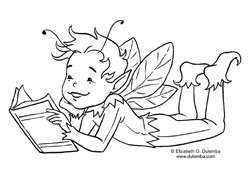 dulemba: Coloring Page Tuesday - Boy Fairy Reading