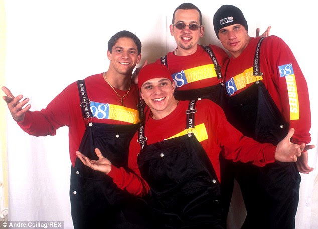 What's the big deal: The original Grammy Nominated International pop boy band members from 98 Degrees including, (Left to right) Jeff Timmons, Justin Jeffre, Nick Lachey, and (pictured bottom center) Drew Lachey