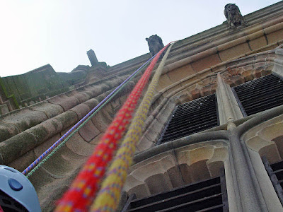 On the ropes at Derby Cathedral.