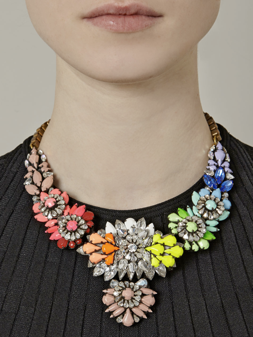 LE FASHION BLOG JEWELRY STATEMENT NECKLACES SHOUROUK NEON BRIGHT STONES GEMS SWAROVSKI CRYSTALS DIAMONDS BIB  APOLONIA MATCHES FASHION LONDON RAINBOW BRIGHT