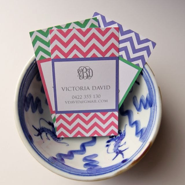 Calling Cards - Chevron with Monogram (20)