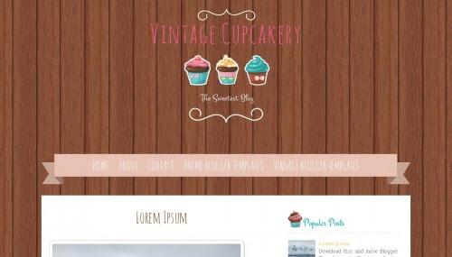 """Vintage Cupcakery"" Cake Blog Templates Free + Cute Design"