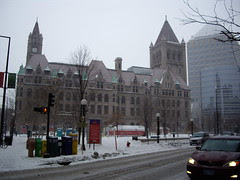 snowy downtown st. paul, mn