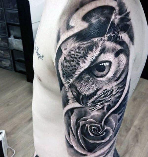 50 Owl Sleeve Tattoos For Men - Nocturnal Bird Design Ideas