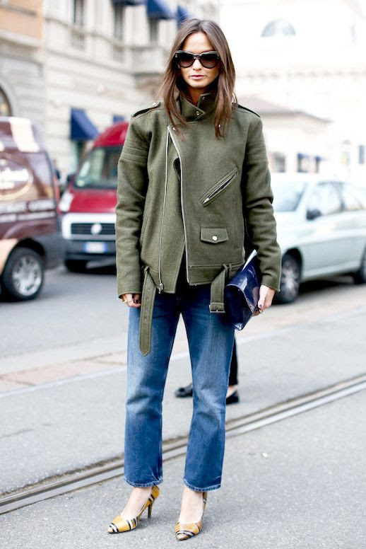 Le Fashion Blog Mfw Street Style Columbine Smille Blogger Oversized Green Jacket Blue Patent Clutch Jeans Striped Python Heels Via Elle Uk