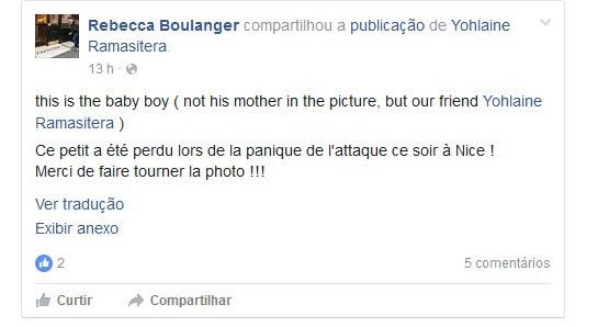 'Este é o menino (não a mãe dele na foto, mas a nossa amiga Yohlaine Ramasitera). Este pequeno foi perdido durante o pânico do ataque esta noite em Nice! Obrigado por fazer circular a foto', escreveu uma outra amiga (Foto: Reprodução/Facebook)