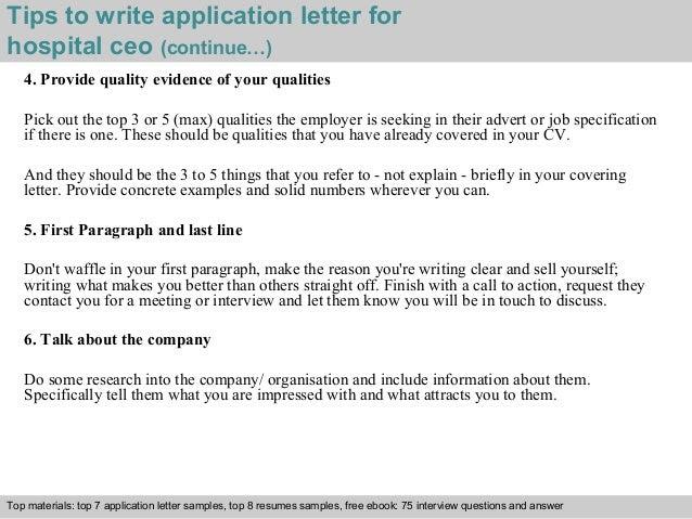 Hospital Ceo Application Letter