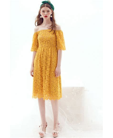 Yellow Off the shoulder Lace Knee Length Wedding Guest
