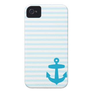 Blue Anchor and Light Blue Sailor Stripes Case-mate Iphone 4 Cases