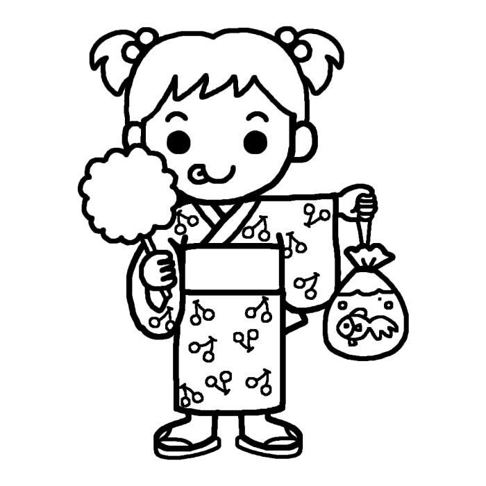 浴衣の女の子白黒なつまつり夏祭りの無料イラスト夏の季節