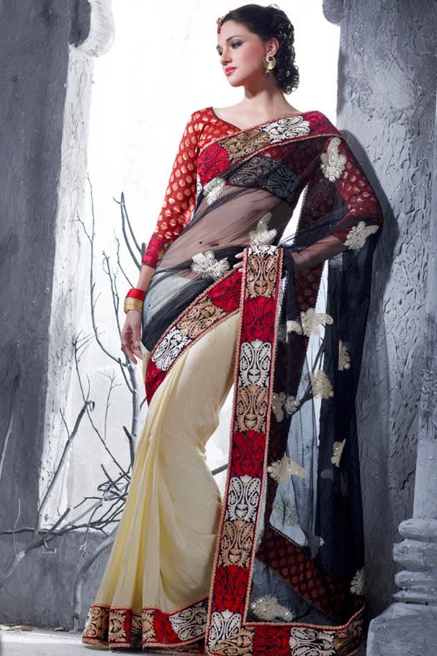 Indian-Brides-Bridal-Wedding-Party-Wear-Embroidered-Saree-Design-New-Fashion-Reception-Sari-11