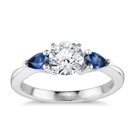 Classic Pear Shaped Sapphire Engagement Ring in 18k White