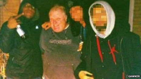 Anthony Smith (left), Rob Ford and two other men in an image provided to the BBC by Gawker
