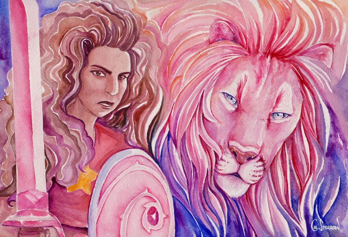 I loved yesterday's episode so much so I painted Stevonnie and Lion ready to kick some Jasper butt! I spent all day on this wow.    DA link