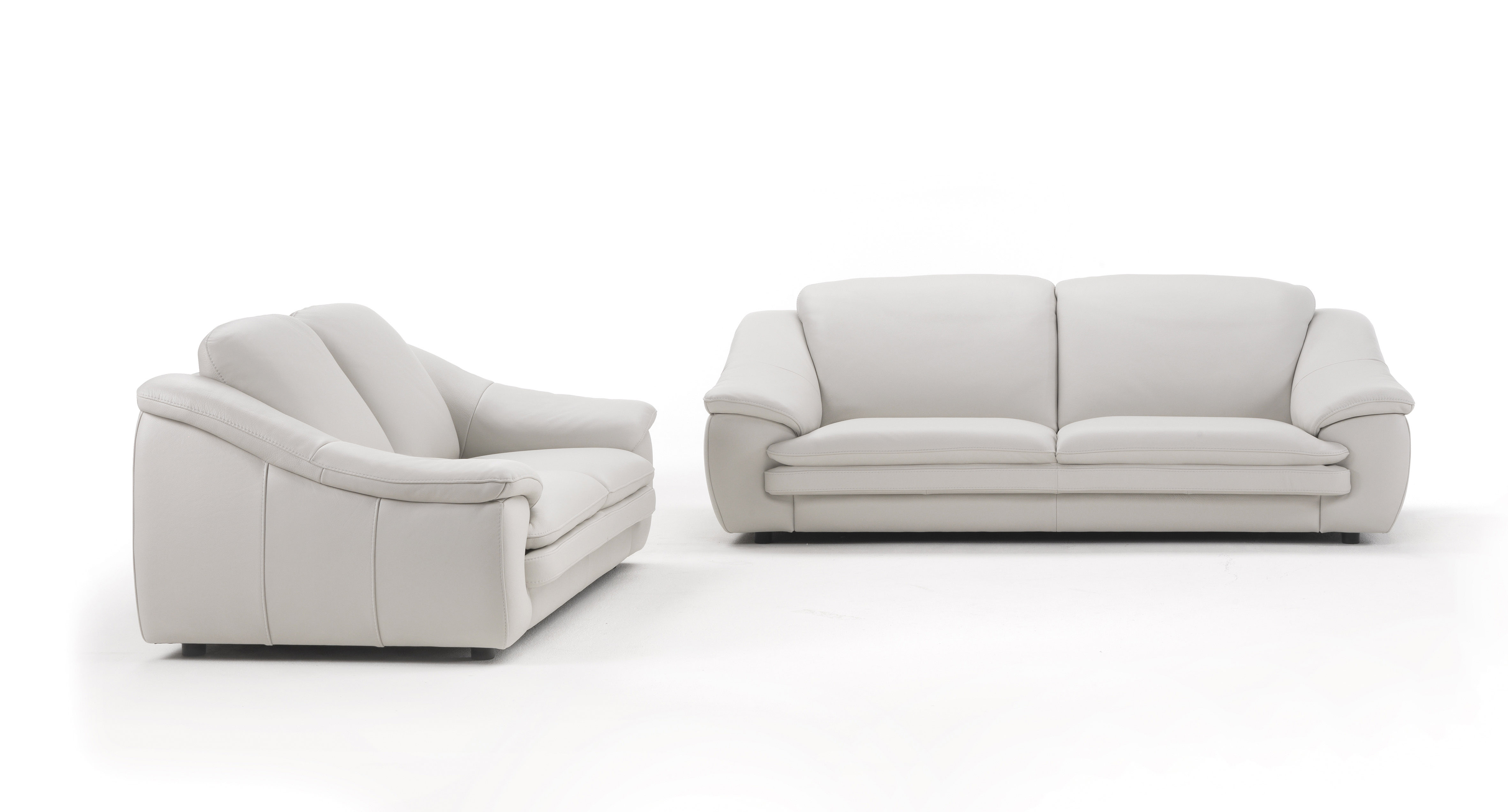 Contemporary Leather Sofa Set with Padded Arms and ...